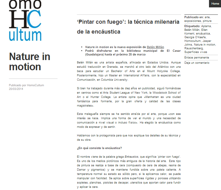 "ONLINE INTERVIEW by magazine Homocultum – ""Pintar con Fuego"": click below for full article"