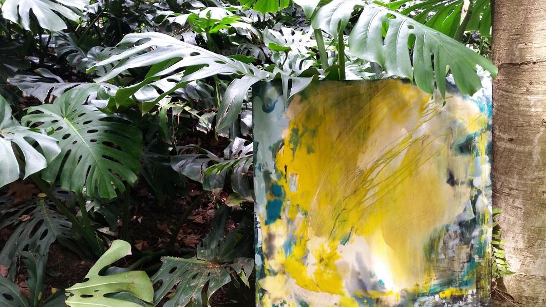 MALAGA, Spain: Caprichos – April 2015 – Art Intervention in Malaga´s Botanical Garden- 2 encaustic sculptures and an encaustic painting 80x80cm